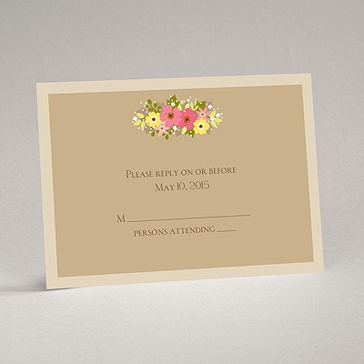 Vintage Wreath - Champagne - Response Card and Envelope