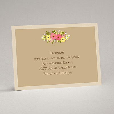 Vintage Wreath - Champagne - Reception Card