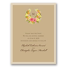 Vintage Wreath - Champagne - Save the Date Card