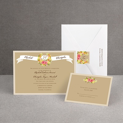 Vintage Wreath - Champagne - Invitation