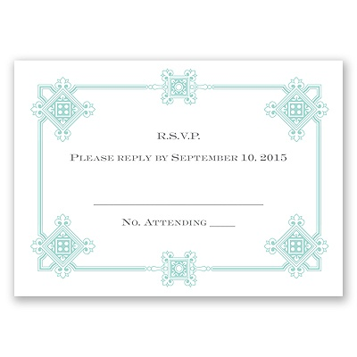 Deco Frame - Aqua - Response Card and Envelope
