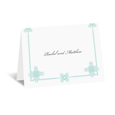 Deco Frame - Aqua - Thank You Card and Envelope