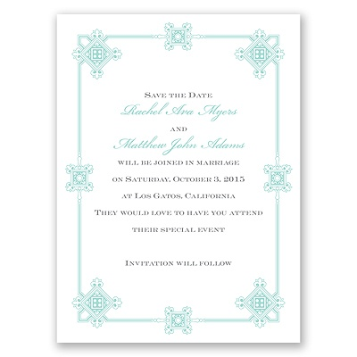 Deco Frame - Aqua - Save the Date Card