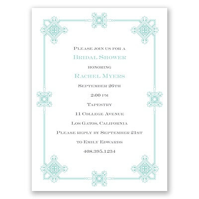 Deco Frame - Aqua - Bridal Shower Invitation