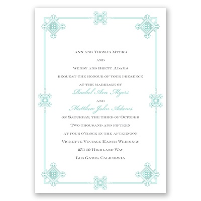 Deco Frame - Aqua - Invitation