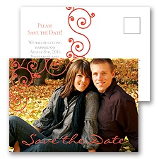Fashionable Swirls - Save the Date Postcard