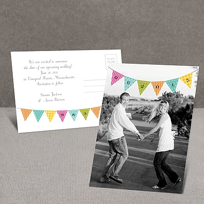 Whimsical Pennant - Save the Date Postcard