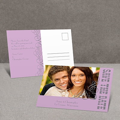 Bold Notice - Purple - Save the Date Postcard