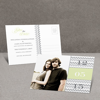 Chic Chevron - Green - Save the Date Postcard