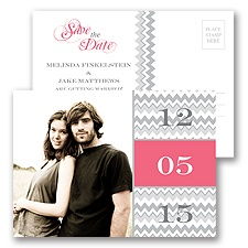 Chic Chevron - Fuchsia - Save the Date Postcard