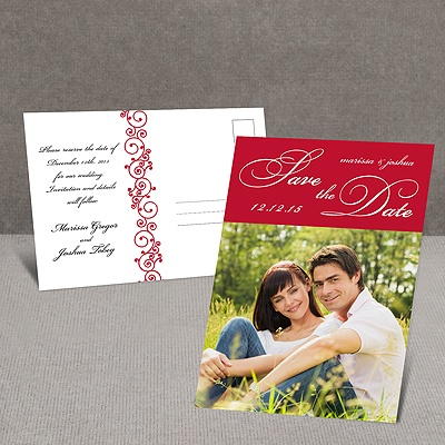 Scripted - Red - Save the Date Postcard