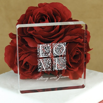 LOVE Square Acrylic Cake Top