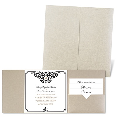 Flourishing Border - Gold Shimmer - Pocket Invitation