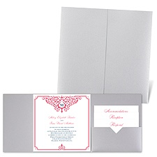 Flourishing Border - Silver Shimmer - Pocket Invitation