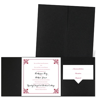 Filigree Edges - Black - Pocket Invitation