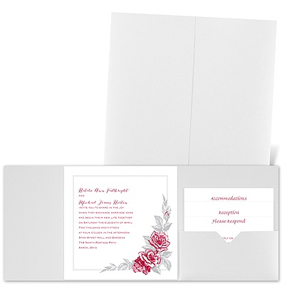 Custom Roses - White Shimmer - Pocket Invitation