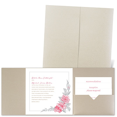 Custom Roses - Gold Shimmer - Pocket Invitation