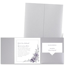 Custom Roses - Silver Shimmer - Pocket Invitation