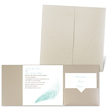 Delicate Feather - Gold Shimmer - Pocket Invitation
