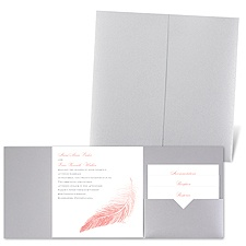 Delicate Feather - Silver Shimmer - Pocket Invitation
