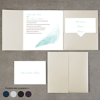 Delicate Feather - Pocket Invitation
