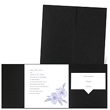 Watercolor Blossoms - Black - Pocket Invitation