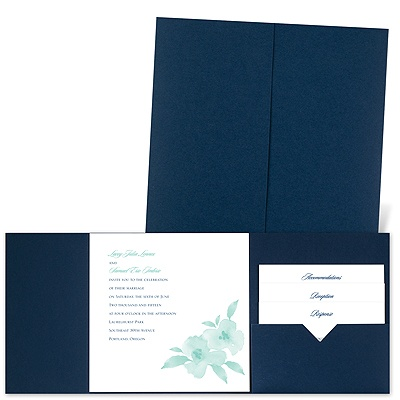 Watercolor Blossoms - Navy - Pocket Invitation
