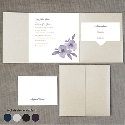 Watercolor Blossoms - Pocket Invitation