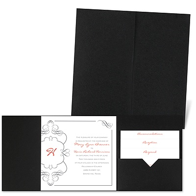 Calligraphy Monogram Accents - Black - Pocket Invitation