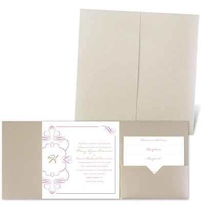 Calligraphy Monogram Accents - Gold Shimmer - Pocket Invitation