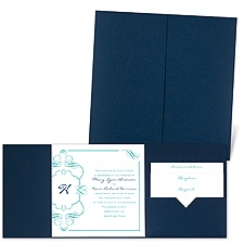 Calligraphy Monogram Accents - Navy - Pocket Invitation