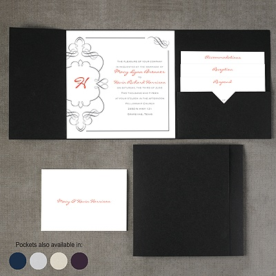 Calligraphy Monogram Accents - Pocket Invitation