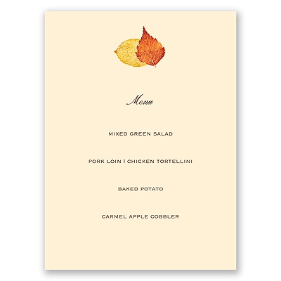 Touch of Autumn - Menu Card