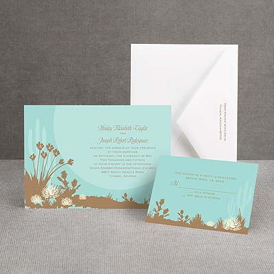 Desert Blooms - Aqua - Invitation