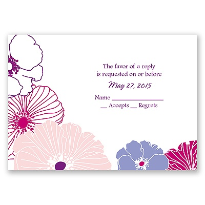 Hip Blossoms - Berry - Response Card and Envelope