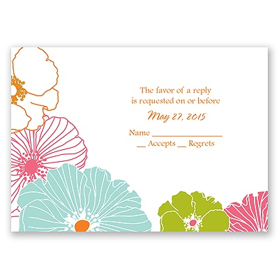 Hip Blossoms - Fresh - Response Card and Envelope