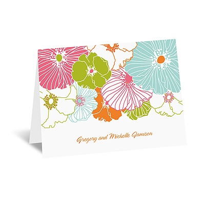 Hip Blossoms - Fresh - Thank You Card and Envelope