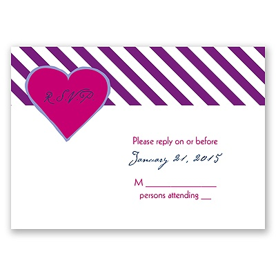 Hip Heart - Berry - Response Card and Envelope