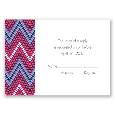 Hip Chevron - Berry - Response Card and Envelope
