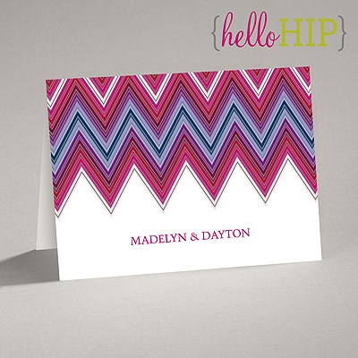 Hip Chevron - Berry - Thank You Card and Envelope