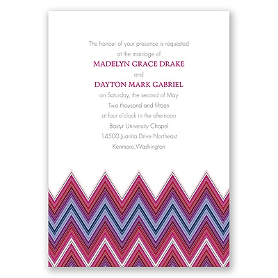 Hip Chevron - Berry - Invitation