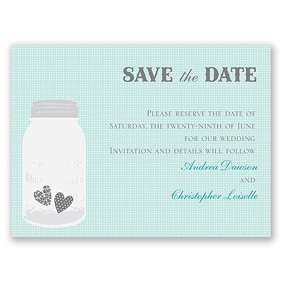 Jar of Hearts - Aqua - Save the Date Card