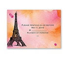 Watercolor Paris - Pink - Response Card and Envelope