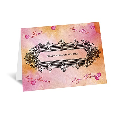 Watercolor Paris - Pink - Thank You Card and Envelope