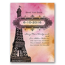 Watercolor Paris - Pink - Save the Date Card
