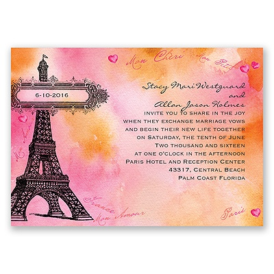 Watercolor Paris - Pink - Invitation