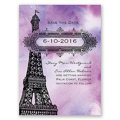 Watercolor Paris - Purple - Save the Date Card