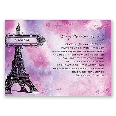 Watercolor Paris - Purple - Invitation