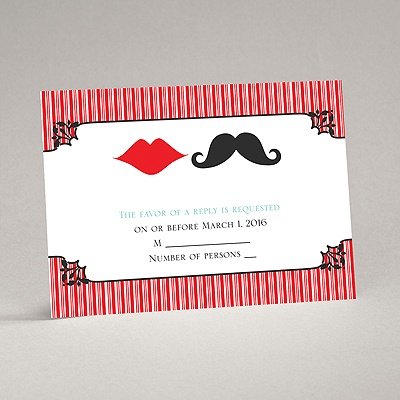 Moustache Kisses - Cherry - Response Card and Envelope