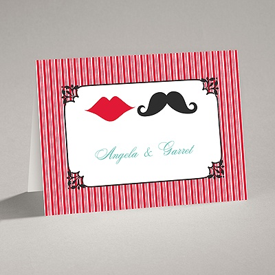 Moustache Kisses - Cherry - Thank You Card and Envelope